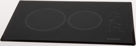 "Kenyon B415 24"" Lite-Touch Q Series Landscape Electric Cooktop with 2 Elements, Ceramic Glass Smooth Surface, Beveled-Edge Glass, Auto Shut Off, ""On"" and ""Hot"" Indicator Lights, in Black"