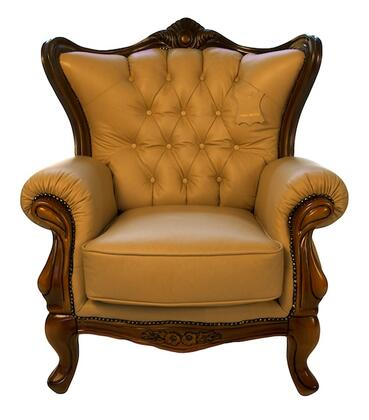 J. Horn 995KHAKIC 995 Series Leather Armchair with Wood Frame