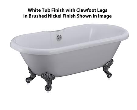 "Barclay ATDR Beethoven 59"" Acrylic Double Roll Top Clawfoot Tub, with White Tub Finish, Overflow, Imperial Clawfoot Design, ,with Clawfoot Finish in"