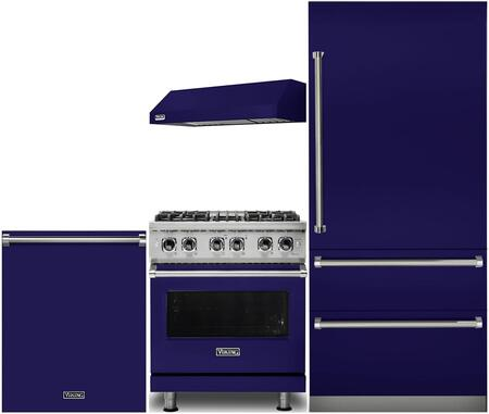 Viking 987531 4 piece Cobalt Blue Kitchen Appliances Package