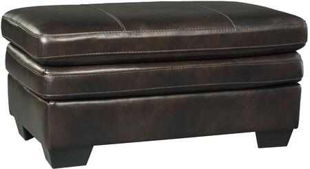 Signature Design by Ashley 1530414 Hannalore Series Contemporary Leather Wood Frame Ottoman