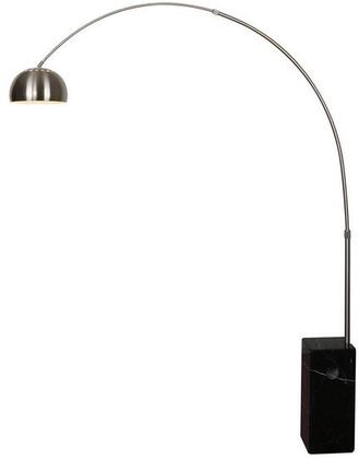 """EdgeMod SoHo Collection 83.5"""" Arc Floor Lamp with Adjustable Stem, Satin Nickel Body, Solid Marble Base, Iron and Stainless Steel Construction in"""