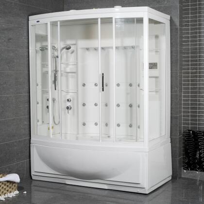 Aston Global ZAA210- Steam Shower with Whirlpool Bath, White, 24 Body Jets,2 Built-In, Seats 12V Light, Storage Shelves -  Hand