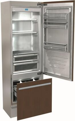 """Fhiaba FI24BI- 24"""" Integrated Series Build In Bottom Freezer Refrigerator with 12.1 cu. ft. Capacity, Ice Maker, TriPro Refrigeration, TotalNoFrost and OptiView: Panel Ready with"""