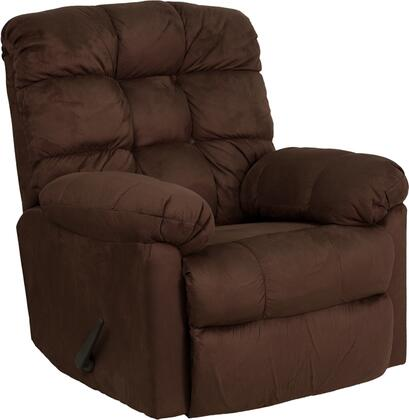 Flash Furniture HM400PADDEDWALNUTGG Contemporary Microfiber Wood Frame Rocking Recliners