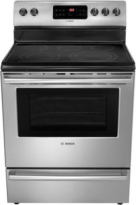 "Bosch HES5053U 30"" 500 Series Electric Freestanding Range with Smoothtop Cooktop, 5.4 cu. ft. Primary Oven Capacity, Storage in Stainless Steel"