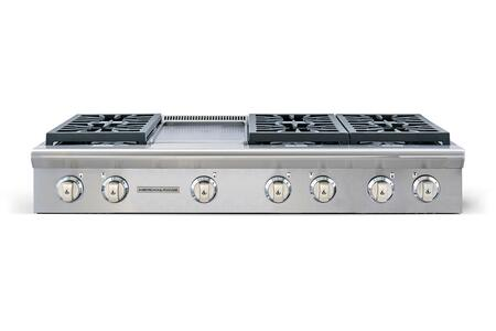 "American Range AROBSCT648GD 48"" Performer Series Slide-In Gas Rangetop with 6 Open Burners, 11"" Griddle, Automatic Electronic Ignition and Commercial Grade Cast Iron Grates in Stainless Steel:"