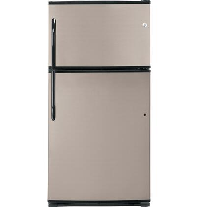 GE GTL21KBXBS Freestanding Top Freezer Refrigerator with 21.0 cu. ft. Total Capacity 4 Glass Shelves 6.1 cu. ft. Freezer Capacity