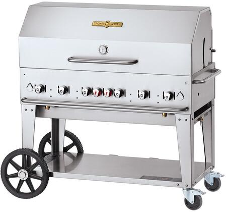 "Crown Verity CVMCB48XXXNG 48"" Natural Gas Mobile Grill up to 99,000 BTUs in a Durable Stainless Steel with Two 14"" Wheels and Two Lock Casters for Mobility"