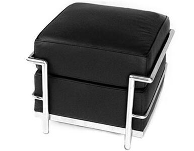 Fine Mod Imports FMI2017 Cube LC Leather Stainless Steel Ottoman: