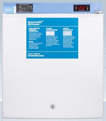 """AccuCold FSL7MED2 19"""" Compact Freezer with cu. ft. Capacity, Digital Thermostat, Factory Installed Lock, Manual Defrost, Buffered Temperature Probe, and Magnetic Door Gasket, in White"""