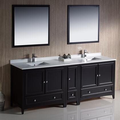 "Fresca Oxford Collection FVN20-361236 84"" Traditional Double Sink Bathroom Vanity with 5 Soft Close Doors, 3 Soft Close Dovetail Drawers and Tapered Legs in"