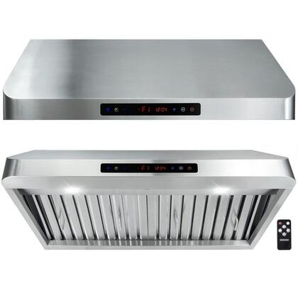 """Golden Vantage GUR8013 X"""" Under Cabinet Hoods with 900 CFM, 65 dB, Innovative Touch, LED Lighting, 3 Fan Speed, Stainless Steel Baffle Filter and Remote Control: Stainless Steel"""