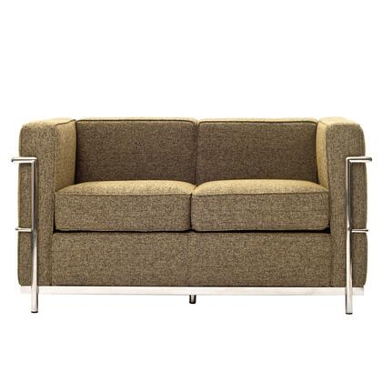 Modway EEI697OAT Le Corbusier LC2 Series Fabric Stationary with Metal Frame Loveseat