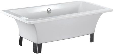 "Barclay ATRECN59WH Schubert 59"" Freestanding Acrylic Rectangular Bathtub in White with 41 Gallon Capacity, No Faucet Holes, and Legs in:"
