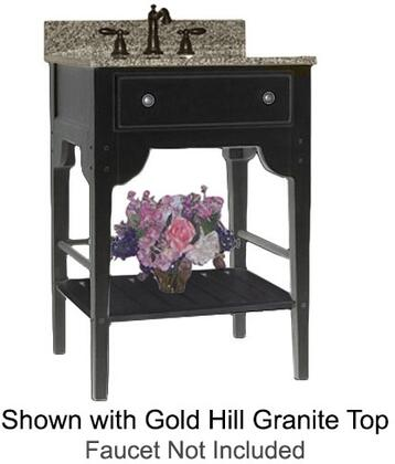 "Kaco Dover Collection 340-3000-B 30"" Single Sink Vanity with Bottom Shelf, Faux Drawer Front and Distressed Black Sherwin Williams Finish with Granite Top"