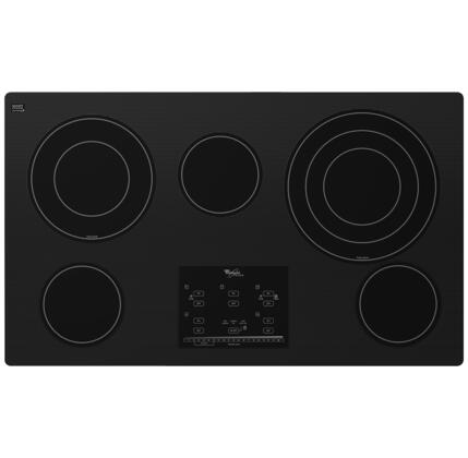 "Whirlpool G9CE3675X Gold 36"" Smoothtop Electric Cooktop with 5 Radiant Elements, Eco Friendly Schoot Ceran Glass Surface, Tap Touch Controls, AccuSimmer Plus and Hot Surface Indicator Light in"