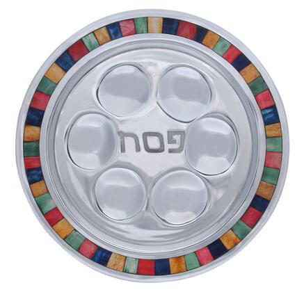 "Israel Giftware Design PT-51X 13"" x 13"" Round Handmade Passover Plate with Center Inscription, Aluminum Frame and Decorative Color Inlay in"