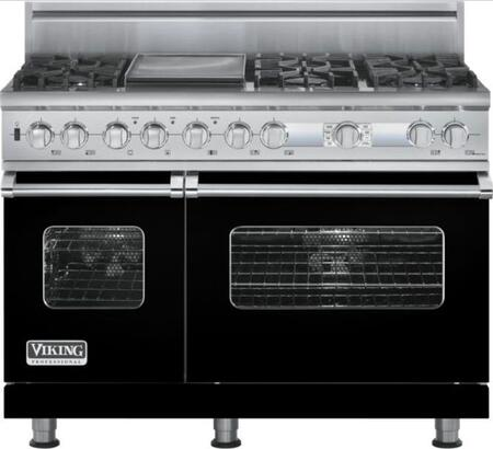 Viking VDSC548T6GBK Professional Custom Series Dual Fuel Freestanding Range with Sealed Burner Cooktop, 4.7 cu. ft. Primary Oven Capacity, in Black