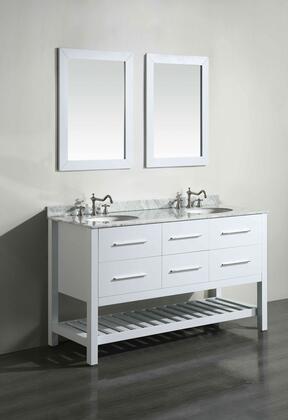 "Bosconi SB2505X 60"" Double Vanity with White Carrara Marble Top"