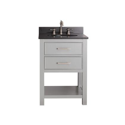 "Avanity BROOKS-VS Brooks Sink Vanity With Top, Pre-drilled 8"" Hole, Brushed Nickel Hardware, Adjustable Height Levelers, Soft-Closed Drawer, Open Shelf, White Sink, Solid Poplar Wood And Plywood"