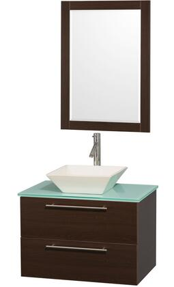 "Wyndham Collection WC-R4100-30 Amare 30"" Single Sink Bathroom Vanity with X Top and X Vessel Sink in"