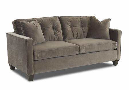 "Klaussner Brower Collection E94300-SC- 76"" Sofa with Track Arms, Tapered Block Feet, Button Tufted Back and Polyester Fabric Upholstery in"