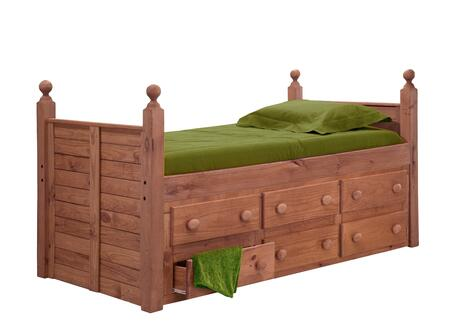 Chelsea Home Furniture 31950X Twin Panel Post Bed, with All Pine Wood Construction, and Rustic Style in Mahogany Stain