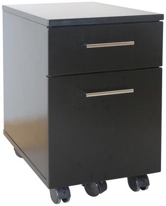"Unique Furniture 200 Collection 20"" Filing Cabinet with 1 File Drawer, 1 Utility Drawer, Locking Castors, Medium-Density Fiberboard (MDF) and Metal Handles in"
