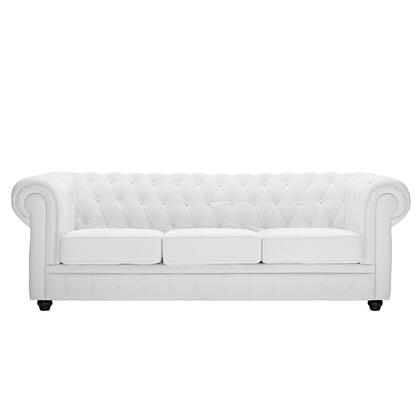 Modway EEI701WHI Chesterfield Series Stationary Bonded Leather Sofa