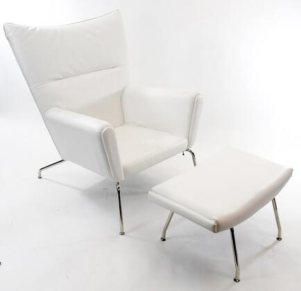 Fine Mod Imports FMI9233WHITE Wing Series Modern Leather Chaise Lounge