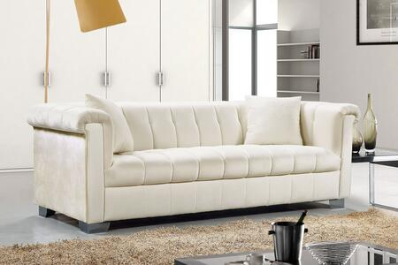 """Meridian Kayla Collection 615X-S 90"""" Sofa with Velvet Upholstery, Chrome Legs and Contemporary Style in"""