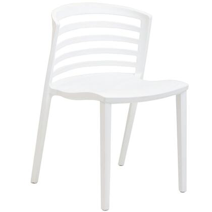 Modway EEI557WHI Curvy Series Modern Not Upholstered Plastic Frame Dining Room Chair