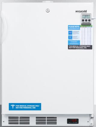 """AccuCold ACF48WVAC 24"""" VAC Series Freestanding or Built In Compact Freezer with 3.1 cu. ft. Capacity, NIST Calibrated Temperature Display, Self-Closing, Thick Insulation and Temperature Alarm: White"""