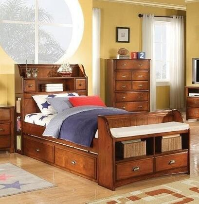 Acme Furniture 110 Brandon Bed with Storage Bookcase Headboard, Storage Drawers, Antique Bronze Decorative Hardware, Hardwood Solids and Veneers in Antique Oak Finish