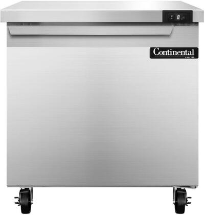 """Continental Refrigerator SWF3 32"""" Worktop Freezer with 9 Cu. Ft. Capacity, Stainless Steel Exterior and Interior, 5"""" Casters, Interior Hanging Thermometer, and Environmentally-Safe Refrigerant, in Stainless Steel"""