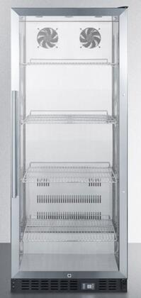 "Summit SCR1156x 24"" Commercially Approved Beverage Center with 11 cu. ft. Capacity, 4 Chrome Wire Adjustable Shelves, Automatic Defrost, Double Pane Tempered Glass Door, and Lock, in Stainless Steel"