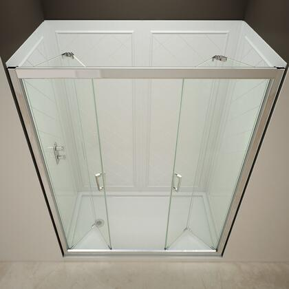 DreamLine DL-612 Butterfly Frameless Bi-Fold Shower Door with Single Threshold Shower Base and QWALL-5 Shower Backwalls Kit in