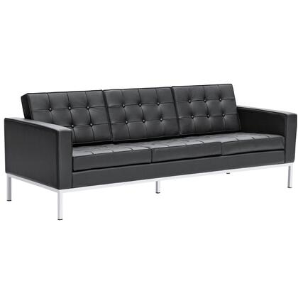 Fine Mod Imports FMI2199BLACK Button Series Stationary Italian Leather Sofa