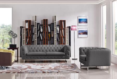 Diamond Sofa Catalina CATALINASC Sofa & Chair 2PC Set with Button Tufting, Chrome Metal Leg and Stitching Details in