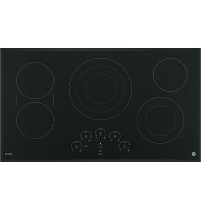 "GE Profile PP9036 36"" Built in Electric Cooktop with 5 Radiant Cooking Elements, Glide Touch Controls, Hot Surface Indicator, Keep-Warm Setting and Melt Setting in"