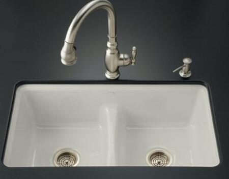 Kohler K-5838-7U- Double Basin Smart Divide Cast Iron Kitchen Sink from the Deerfield Series: