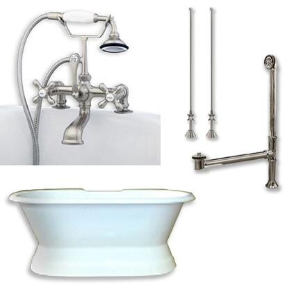 """Cambridge DESPED463D2PKGXX7DH Cast Iron Double Ended Slipper Tub 71"""" x 30"""" with 7"""" Deck Mount Faucet Drillings and Complete Plumbing Package"""