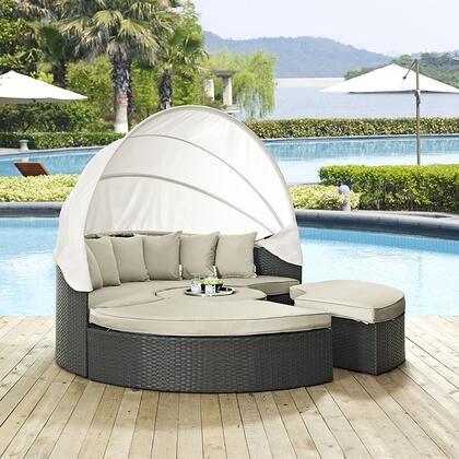"Modway Sojourn Collection EEI-1986-CHC- 86"" Outdoor Patio Sunbrella Daybed with 6 Throw Pillows, 2 Ottomans, Retractable Canopy, Coffee Table, Synthetic Rattan Weave, Powder Coated Aluminum Frame, UV and Water Resistant in"