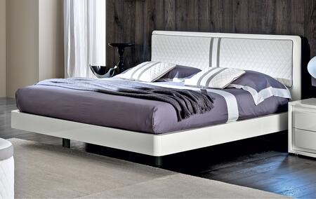 ESF Dama Bianca Collection Bed with Upholstered Headboard and Wood Construction in White Finish