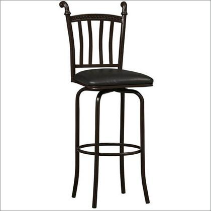 Linon 02756MTL01KDU Mission Series PVC Upholstered Bar Stool