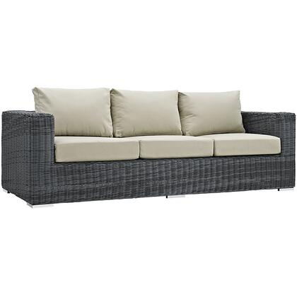"Modway Summon EEI1874GRY 89"" Outdoor Patio Sunbrella Sofa with Washable Fabric Cushions, Stainless Steel Legs, Powder Coated Aluminum Tube Frame, UV and Water Resistant in Canvas"