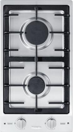 """Miele CS1012 12"""" Double Cooktop with Stainless Steel Control Knob, Sealed Burners, Electric Spark Ignition and Cast Iron Grate, in Stainless Steel"""