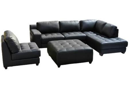 Diamond Sofa LAREDORF3PCSECTOTTOB Contemporary Brown microfiber or a luxurious cream colored velvet Living Room Set