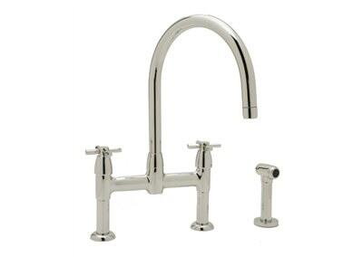 Rohl U.4272X--2 Perrin and Rowe Collection Contemporary Bridge Kitchen Faucet with CrossHandles and Sidespray, California AB 1953 and Vermont S152 Compliant: